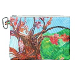 Coral Tree Blooming Canvas Cosmetic Bag (xl)