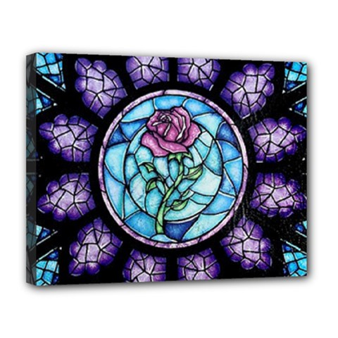 Cathedral Rosette Stained Glass Canvas 14  X 11