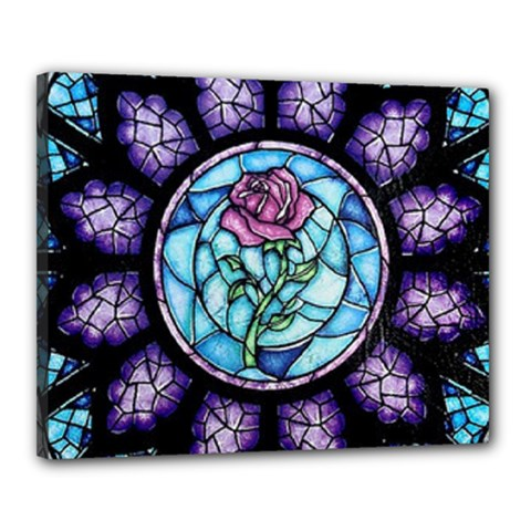 Cathedral Rosette Stained Glass Canvas 20  X 16