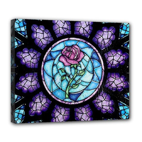 Cathedral Rosette Stained Glass Deluxe Canvas 24  X 20