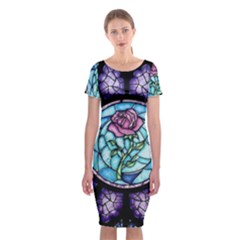 Cathedral Rosette Stained Glass Classic Short Sleeve Midi Dress