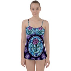 Cathedral Rosette Stained Glass Babydoll Tankini Set