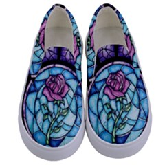 Cathedral Rosette Stained Glass Kids  Canvas Slip Ons