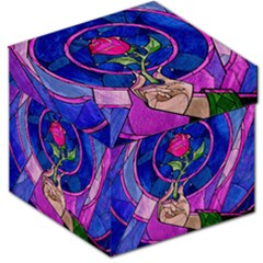 Enchanted Rose Stained Glass Storage Stool 12   by Samandel