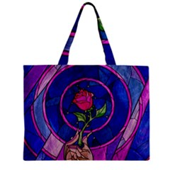 Enchanted Rose Stained Glass Zipper Mini Tote Bag by Samandel