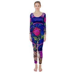 Enchanted Rose Stained Glass Long Sleeve Catsuit