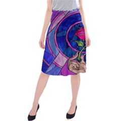 Enchanted Rose Stained Glass Midi Beach Skirt by Samandel