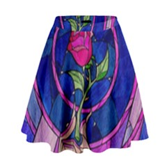 Enchanted Rose Stained Glass High Waist Skirt by Samandel