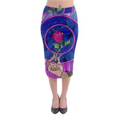 Enchanted Rose Stained Glass Midi Pencil Skirt by Samandel