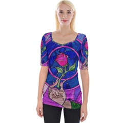 Enchanted Rose Stained Glass Wide Neckline Tee