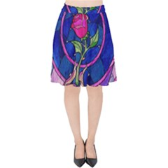 Enchanted Rose Stained Glass Velvet High Waist Skirt by Samandel