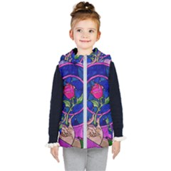 Enchanted Rose Stained Glass Kid s Hooded Puffer Vest by Samandel