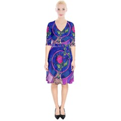 Enchanted Rose Stained Glass Wrap Up Cocktail Dress