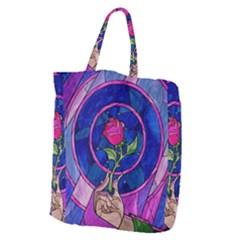 Enchanted Rose Stained Glass Giant Grocery Zipper Tote