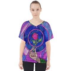 Enchanted Rose Stained Glass V Neck Dolman Drape Top