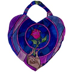 Enchanted Rose Stained Glass Giant Heart Shaped Tote