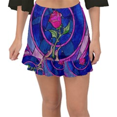 Enchanted Rose Stained Glass Fishtail Mini Chiffon Skirt by Samandel