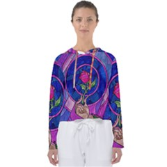 Enchanted Rose Stained Glass Women s Slouchy Sweat