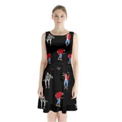 Drake Ugly Holiday Christmas Sleeveless Waist Tie Chiffon Dress