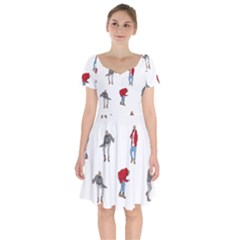 Drake Ugly Holiday Christmas Short Sleeve Bardot Dress