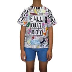 Fall Out Boy Lyric Art Kids  Short Sleeve Swimwear by Samandel