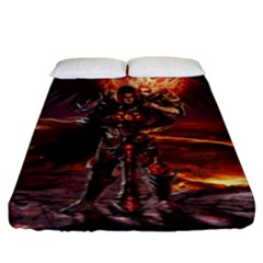 Fantasy Art Fire Heroes Heroes Of Might And Magic Heroes Of Might And Magic Vi Knights Magic Repost Fitted Sheet (king Size)