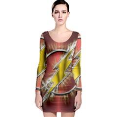 Flash Flashy Logo Long Sleeve Bodycon Dress