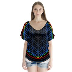 Flower Of Life V Neck Flutter Sleeve Top