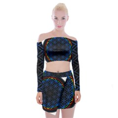 Flower Of Life Off Shoulder Top With Mini Skirt Set