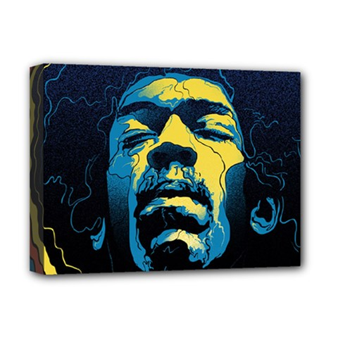 Gabz Jimi Hendrix Voodoo Child Poster Release From Dark Hall Mansion Deluxe Canvas 16  X 12   by Samandel
