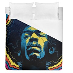 Gabz Jimi Hendrix Voodoo Child Poster Release From Dark Hall Mansion Duvet Cover (queen Size) by Samandel