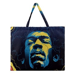 Gabz Jimi Hendrix Voodoo Child Poster Release From Dark Hall Mansion Zipper Large Tote Bag by Samandel