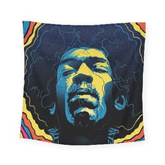 Gabz Jimi Hendrix Voodoo Child Poster Release From Dark Hall Mansion Square Tapestry (small) by Samandel