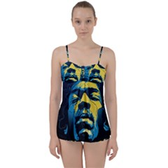 Gabz Jimi Hendrix Voodoo Child Poster Release From Dark Hall Mansion Babydoll Tankini Set by Samandel