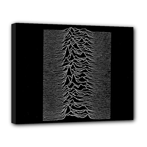 Grayscale Joy Division Graph Unknown Pleasures Canvas 14  X 11