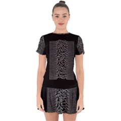 Grayscale Joy Division Graph Unknown Pleasures Drop Hem Mini Chiffon Dress
