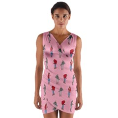 Hotline Bling Pattern Wrap Front Bodycon Dress