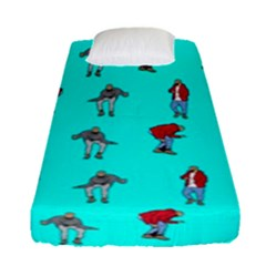 Hotline Bling Blue Background Fitted Sheet (single Size)
