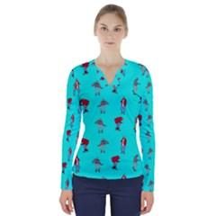 Hotline Bling Blue Background V Neck Long Sleeve Top
