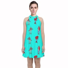 Hotline Bling Blue Background Velvet Halter Neckline Dress  by Samandel