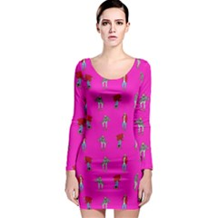 Hotline Bling Pink Background Long Sleeve Bodycon Dress
