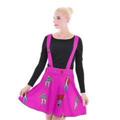 Hotline Bling Pink Background Suspender Skater Skirt