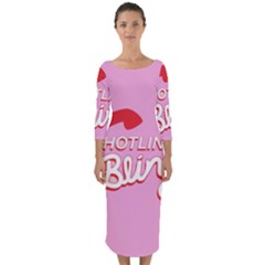 Hotline Bling Quarter Sleeve Midi Bodycon Dress