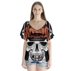 Kreator Thrash Metal Heavy Hard Rock Skull Skulls V Neck Flutter Sleeve Top