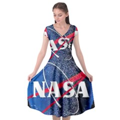 Nasa Logo Cap Sleeve Wrap Front Dress