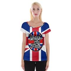 Punk Not Dead Music Rock Uk United Kingdom Flag Cap Sleeve Tops