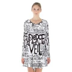 Pierce The Veil Music Band Group Fabric Art Cloth Poster Long Sleeve Velvet V Neck Dress by Samandel