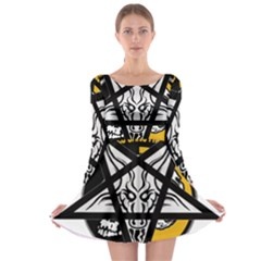 Satanic Warmaster Black Metal Heavy Dark Occult Pentagran Satan Long Sleeve Skater Dress