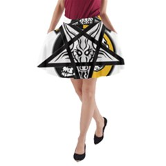 Satanic Warmaster Black Metal Heavy Dark Occult Pentagran Satan A Line Pocket Skirt