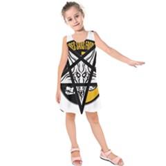 Satanic Warmaster Black Metal Heavy Dark Occult Pentagran Satan Kids  Sleeveless Dress